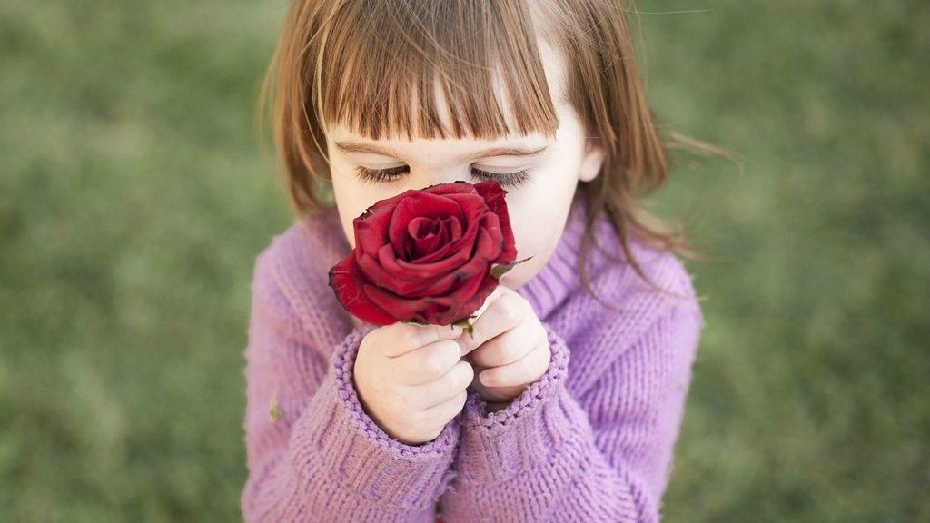 薔薇の匂いをかぐ女児